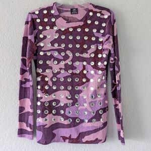 E.vil purple camo cashmere sweater size XL